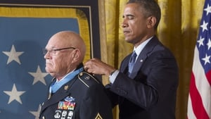 Barack Obama said Command Sergeant Major Adkins had placed himself in the line of fire repeatedly to save fellow Americans