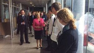 Frances Fitzgerald visited Immigration Control at Terminal 1 this afternoon (Pic: @DeptofJustice)