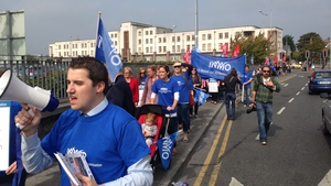 Around 50 nurses took part in the protest at Galway University Hospital