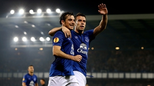 Seamus Coleman (R) celebrates with Leighton Baines after scoring his team's second goal