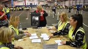 Postal votes are taken from a ballot box in the Royal Highland Centre in Edinburgh