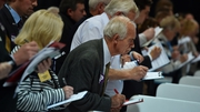 Count observers look on as ballot papers are counted in the Aberdeen Exhibition and Conference Centre in Aberdeen