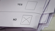 A cross marks a NO vote on a ballot paper at the count centre for the Scottish referendum