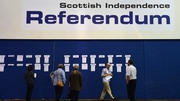 People view results in Scottish Independence Referendum placed on a wall at the Ingleston Hall, Edinburgh