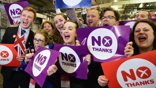 'Better Together' supporters celebrate the result of the referendum