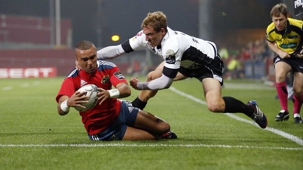 Simon Zebo bagged a hat-trick of tries for Munster