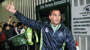 Pat Lam celebrates post-match at the Sportsground