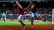 West Ham's Morgan Amalfitano celebrates with teammate Diafra Sakho after scoring his team's third goal