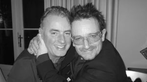 Dave and Bono pictured in the U2 frontman's house last year
