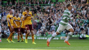 Celtic's Kris Commons after equalising from the spot