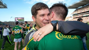 Kerry manager Eamonn Fitzmaurice celebrates with Marc Ó Sé after the game