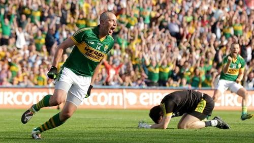 Kieran Donaghy celebrates scoring Kerry's second goal