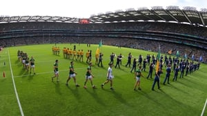 The Kerry and Donegal teams in the parade prior to the 2014 All-Ireland final