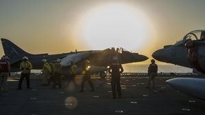 US AV-8B Harrier jet launches to fight jihadists in Syria
