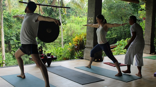 Danielle and Paddy at a yoga retreat