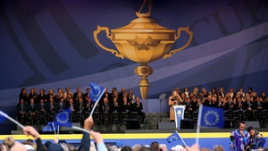 The two teams lined out today at the opening ceremony at Gleneagles