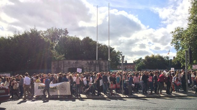 Thousands gathered outside the Garden of Remembrance