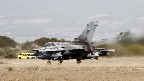 A Royal Air Force Tornado GR4 fighter jet takes off from the Akrotiri British RAF airbase near Limassol