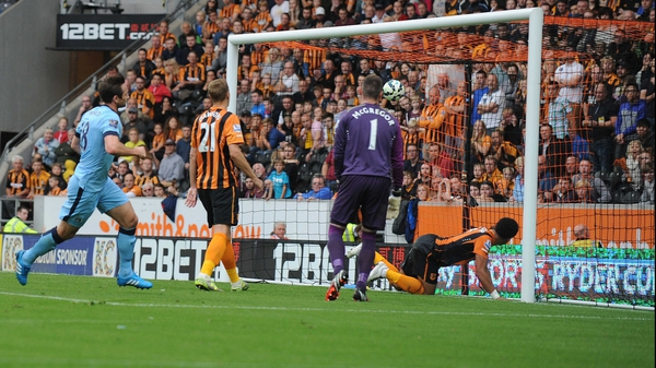 Frank Lampard scores Manchester City's fourth goal at the KC Stadium