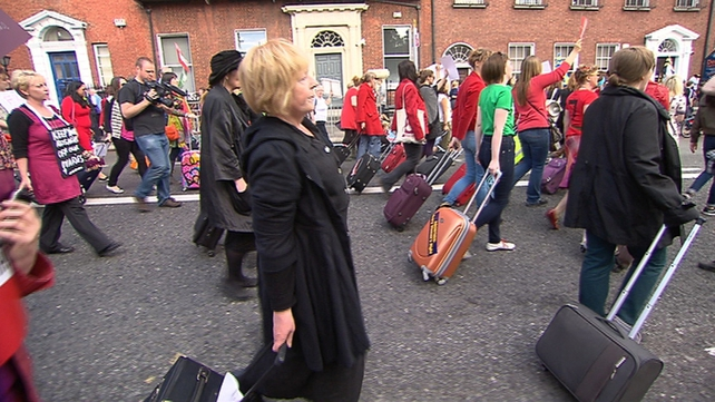 Many protesters brought suitcases with them as a symbol of those who travel abroad for an abortion