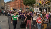 People take part in a march calling for the repeal of the eighth amendment
