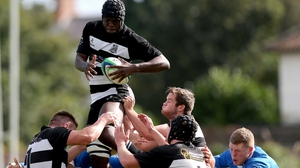 Conor Owende of Old Belvedere claims a lineout against St Mary's