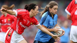All star winners Geraldine O'Flynn of Cork and Dublin's  Noelle Healy in action during the All-Ireland final