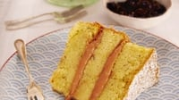 Lavender sponge cake with rhubarb curd  - A lovely lavender flavoured cake with a hint of rhubarb. Yum!