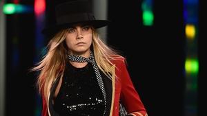 Cara Delevingne for Saint Laurent at Paris Fashion Week