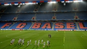 Liverpool players train at St Jakob-Park stadium ahead of the game