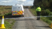 Gardaí near the site of the body find at Oristown bog