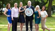 Last year's leaders Siobhan McKillen, Marc Gibbs, Jennifer Bonus and Deirdre O' Donovan with Kathryn Thomas and John Murray