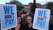 Protesters gathered in Eyre Square in Galway this evening