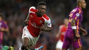 Danny Welbeck celebrates scoring the opening goal at the Emirates