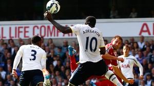 Emmanuel Adebayor has scored just one goal in six Premier League starts this season
