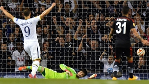 Roberto Soldado celebrates as Harry Kane (not pictured) scores