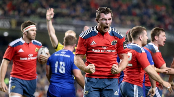 Munster's Peter O'Mahony celebrates victory on the final whistle