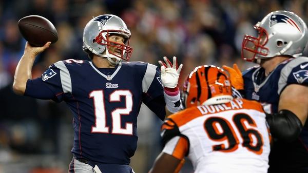 Tom Brady of the New England Patriots passes during the third quarter against the Cincinnati Bengals