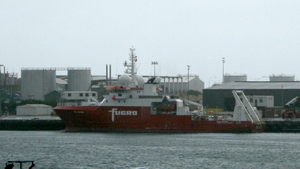 The Fugro Discovery search vessel moored at Fremantle Port, Perth, before it joins the Go Phoenix in the search