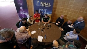 Munster's Peter O'Mahony and head coach Anthony Foley are interviewed at the Champions Cup launch
