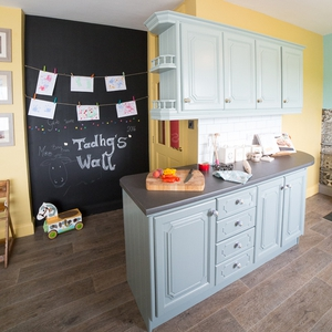 Cabinet Paint - Upper Units - Mid Peridot - Diamond Eggshell - 2.5L  €40.99 Lower Units - Pure Jute - Diamond Eggshell - 2.5L €40.99 Vinyl Floor - Timber Plank Vinyl, Legacy Oak 057 - €19 psm www.stakelums.ie