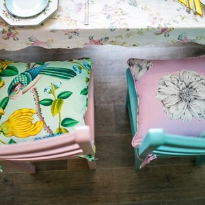 Cushion Fabric: Serendip (green) €127 per meter, www.ryleandcompany.ie Cushion Fabric: Isabelle (pink) €114 per meter,  www.ryleandcompany.ie