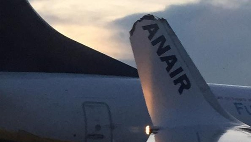 The 'Ry' from the Ryanair wing came off in the incident (Pic: Emily Carroll)