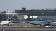 The incident occurred when a Ryanair plane was moving into its parking stand