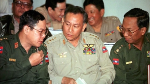 Former military intelligence Colonel Thein Swe (centre) is among those to be released, his family say