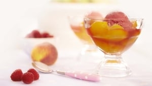 Poached Peaches with Raspberry Sherbet: Rachel Allen