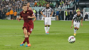 Francesco Totti scored a penalty against Juventus on Sunday, one of three awarded in the game