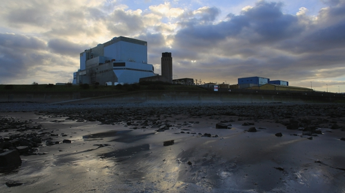 Hinkley Point B and Hinkley Point A nuclear power stations beside the Bristol Channel in England