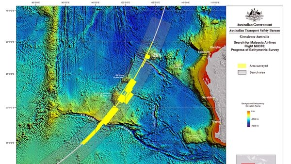 The search area and ocean floor in the Indian Ocean off Western Australia