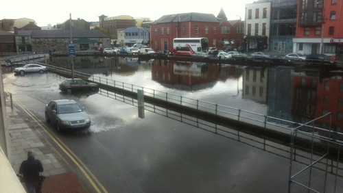 There has been minor flooding on Fr Mathew Quay in Cork city this evening